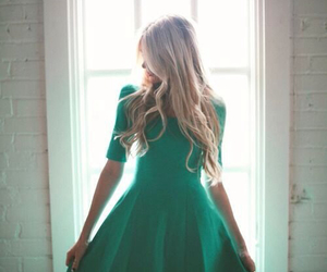 dress, green, and blonde image