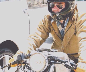 boy, motorcycle, and love image
