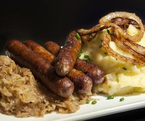 potato, sausage, and sauerkraut image