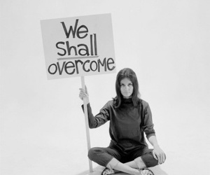 black and white, we shall overcome, and female image