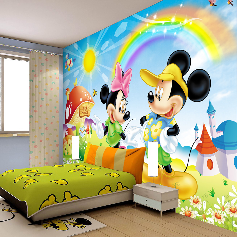 Astonishing Light Blue Mickey Mouse Wall Decal Kids Room Design With Low Profile Bed And Wooden Floor Also Bubble Print Curtain Jg188 Interior Designs
