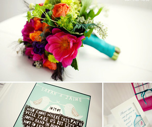 bright colors, letterpress, and turquoise image
