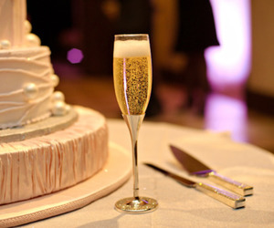 champagne, wedding, and cake image