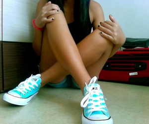 all stars, blue, and shoes image
