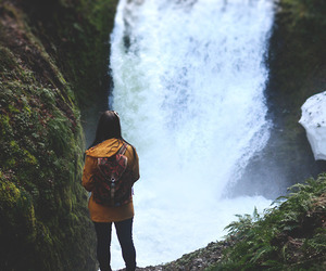 girl, nature, and waterfall image