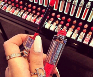 red, dior, and lipstick image