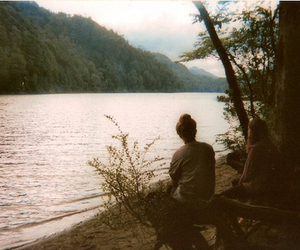girl, friends, and lake image