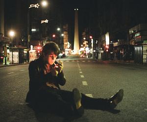 boy, street, and smoke image