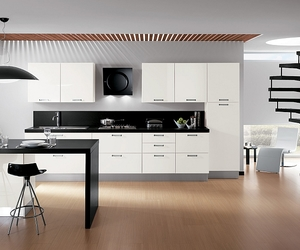kitchen, sleek modern style, and open floor concept image