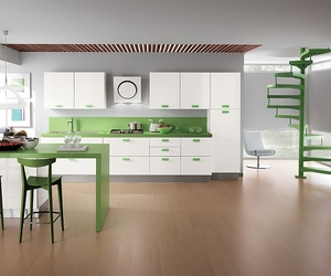 sleek modern style, kitchen, and open floor concept image