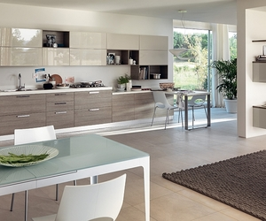 kitchen, open floor concept, and sleek modern style image
