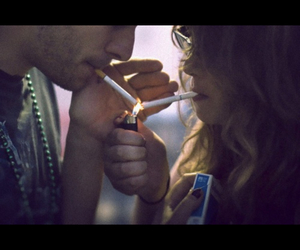 cigarette, lighter, and couple image