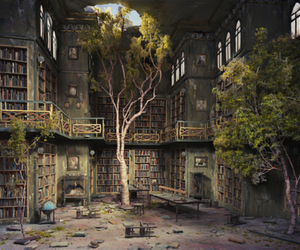 book, tree, and library image