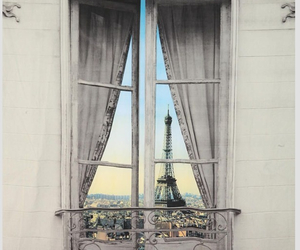 paris, window, and eiffel tower image