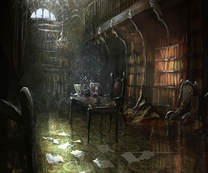 books, derelict, and fantasy image
