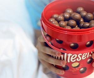 chocolate, maltesers, and food image
