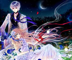 anime, flowers, and moon image