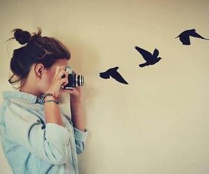 bird, girl, and photography image