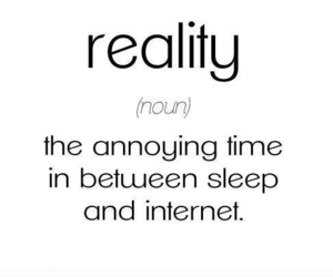 reality, internet, and sleep image