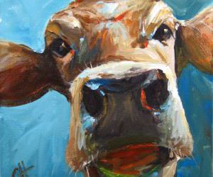 cow, etsy, and painting image