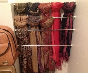 closet, organization, and scarf image