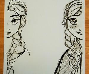drawing, elsa, and anna image