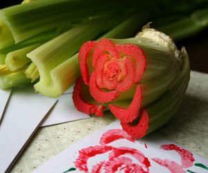 art, celery, and flowers image