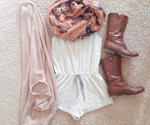 boots, dress, and scarf image