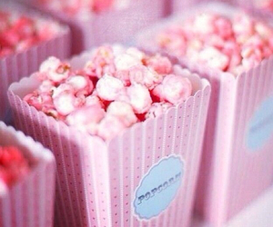 pink, popcorn, and food image