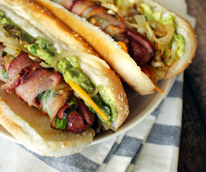 food, bacon, and hot dog image