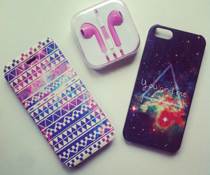 case, earpods, and pattern image