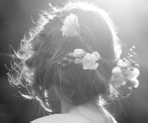 black and white, flowers, and hair styles image