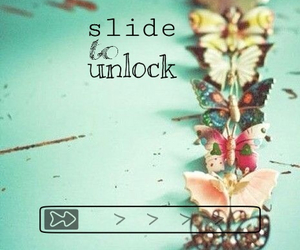 butterflies, phone background, and slide to unlock image
