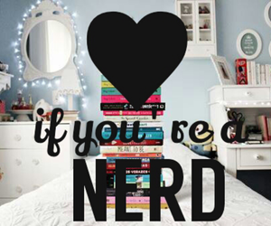 books, heart, and nerd image