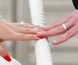 love, nails, and wedding image
