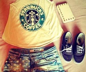 starbucks, outfit, and vans image