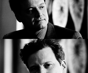 black, Colin Firth, and white image