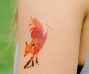 tattoo, fox, and watercolor image