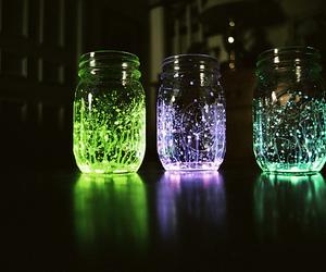 light, jar, and green image