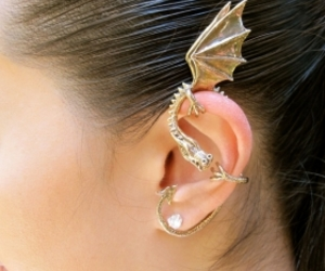 dragon, earrings, and gold image