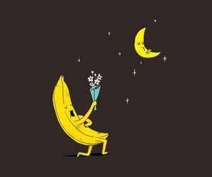 wallpaper, banana, and moon image