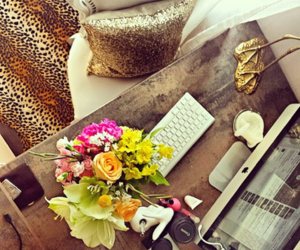 computer, flowers, and gold image