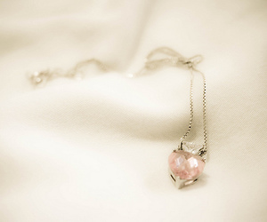 necklace, heart, and pink image