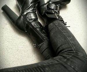 ankle boot, boots, and goth image