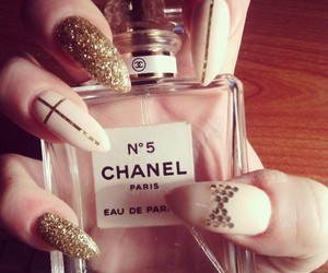 chanel, gold, and nails image