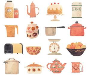 wallpaper, cake, and tea image