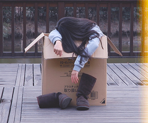 girl, box, and cute image