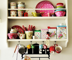 pink, decor, and kitchen image