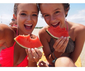 girls, summer, and watermelon image