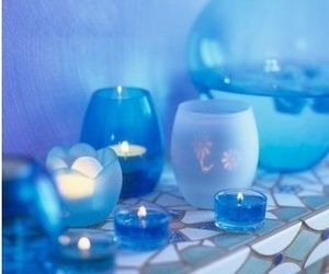 blue, beautiful, and candles image